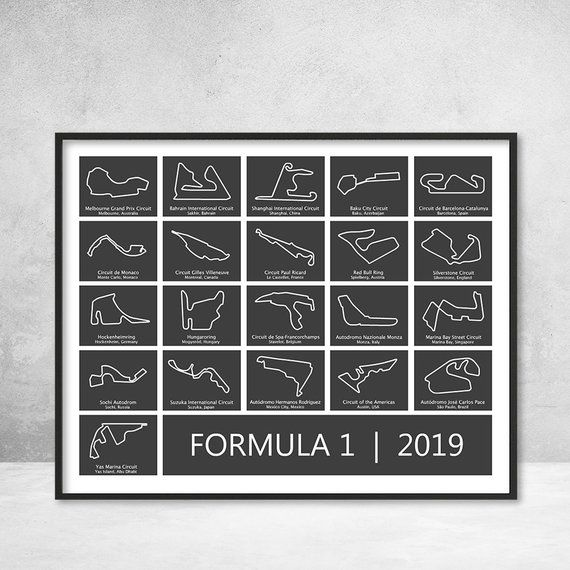 Poster of the Formula 1 (F1) Race Track Circuits for the
