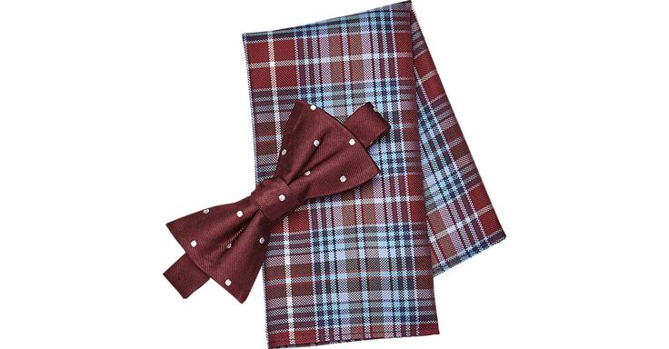 Check this out! Tommy Hilfiger Burgundy Bow Tie & Pocket Square Set - Men's Bow Ties from MensWearhouse. #MensWearhouse