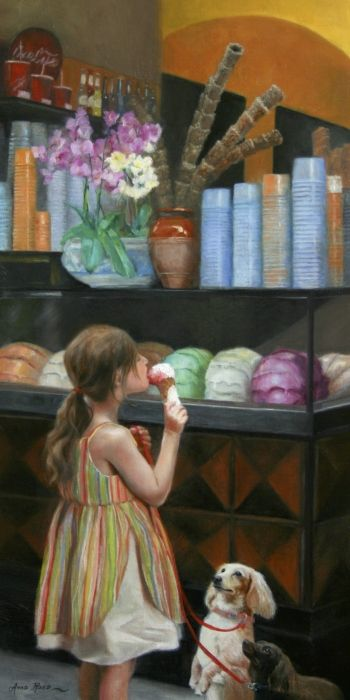 """""""The Gelato Shop"""" - 20x10 - oil on linen panel. Oil painting of a little girl with two dogs begging for her gelato, by Anna Rose Bain"""