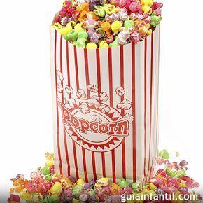 Recetas de palomitas de colores para los niños. Para una tarde de cine en casa, dales una sorpresa a tus hijos con estas palomitas dulces de colores para niños.
