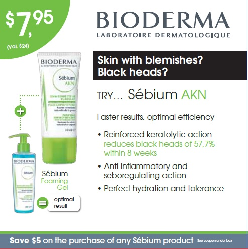 This trial kit is design to prevent the appearance of blemishes by targeting the causes of acne . It contains: Sébium Foaming Gel - 45 ml, Sébium AKN - 15 ml and a $5 coupon on your next purchase of a regular Bioderma product. In store only.