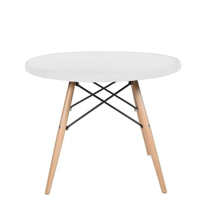 Mesita de diseño fabricada en madera en las patas, acero en los soportes, y ABS en la base. También disponible en versión mesa de comedor. Versión disponible como uso de mesita para niños, puede compaginar con las sillas BABY.