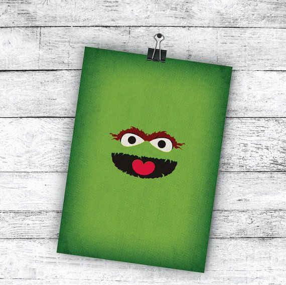 Sesame Street Minimalist Art Print Oscar the Grouch by TheRetroInc, $5.00 Vintage Retro Minimalist Style Print Wall Art TheRetroInc.com @The_Retro_Inc