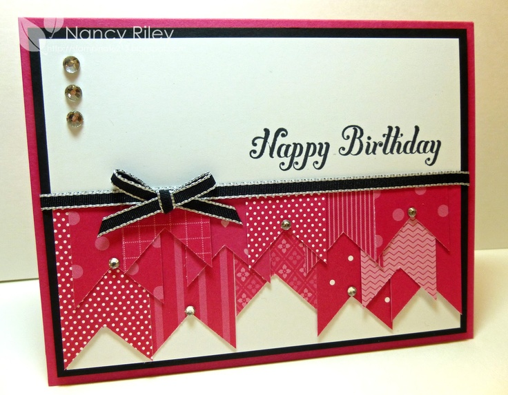 """Artist:   Nancy Riley  Inspired by:  Andrea Walford    CARD RECIPE  Stamps: Bring on the Cake  Paper: various Melon Mambo DSP, Basic Black, Melon Mambo and Whisper White CS  Ink: Basic Black  Embellishments: 1/8"""" Basic Black Taffeta Ribbon, Rhinestone Basic Jewels  Tools: 1 3/8"""" Square Punch  Supplies: Glue Dot, Stampin' Dimensionals"""