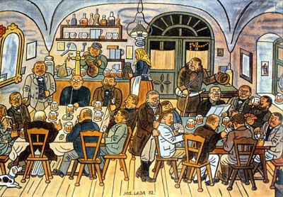 "Josef Lada (Czech painter, illustrator and writer.) Painting: ""In a village pub""."