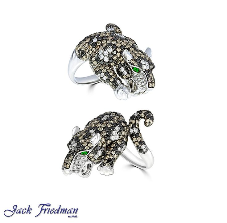Tiger with white,brown and black diamonds and emerald eyes jackfriedman.co.za