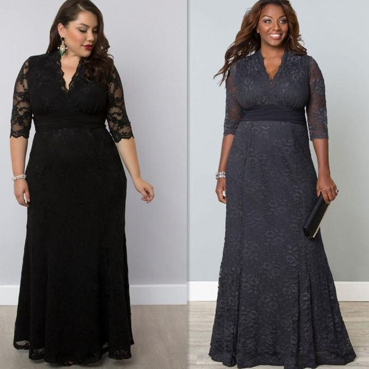 Plus Size Evening Gowns Sleeves Black Grey Lace Long Full Length 2016 Night Dresses For Fat Women Maxi Sizes Casual Special Occasion Dress Cheap Prom Dress Cheap Prom Dresses Under 100 From Firstladybridals, $86.67| Dhgate.Com