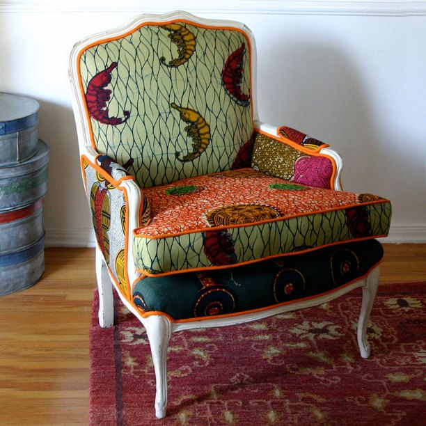 African Wax Cloth Armchair vintage, henry road, multi