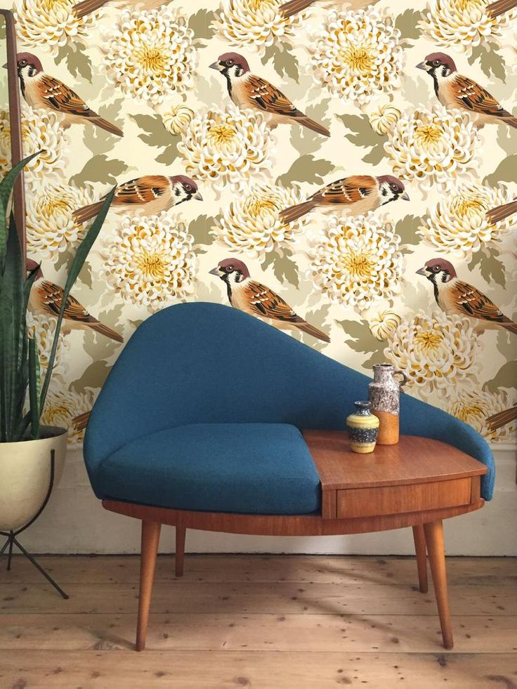 Gold birds flowers removable Wallpaper traditional