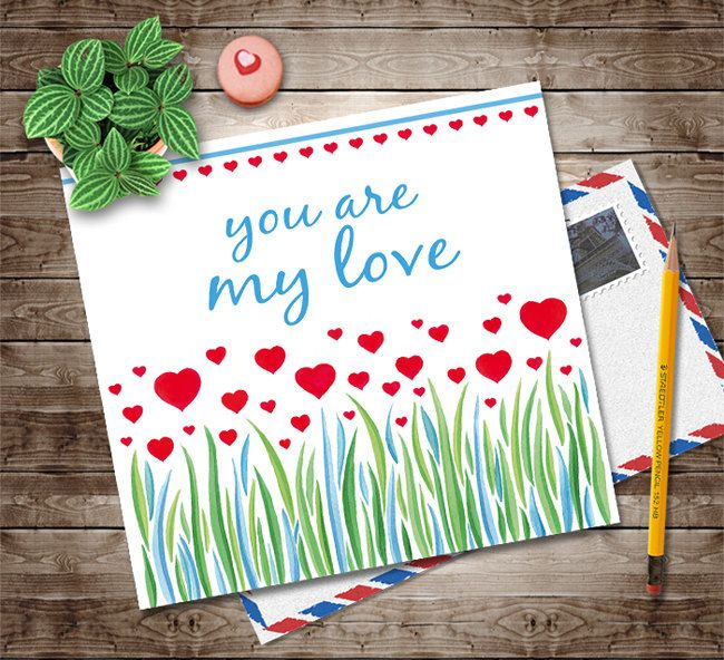 Download Printable Valentines Card, You are my Love Card, Digital Instant Download, Invitation Artwork, Red Spring Love Flowers, Love Card by NopiArtStudio on Etsy