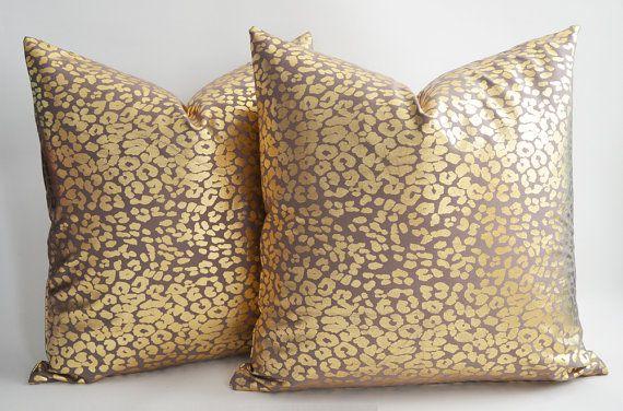 Set Of 2 Leopard Decorative Pillow Gold Pillow Christmas Leopard Throw Pillows Gold