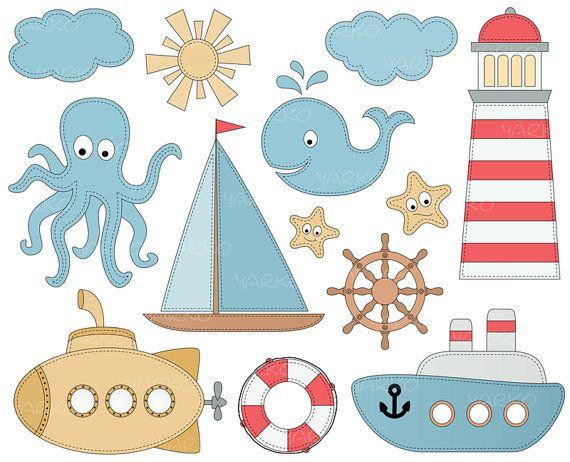 Nautical Clip Art, Sailboat Anchor Clipart, Sea Clip Art, Ocean Clipart, Light House, Lighthouse, Instant download