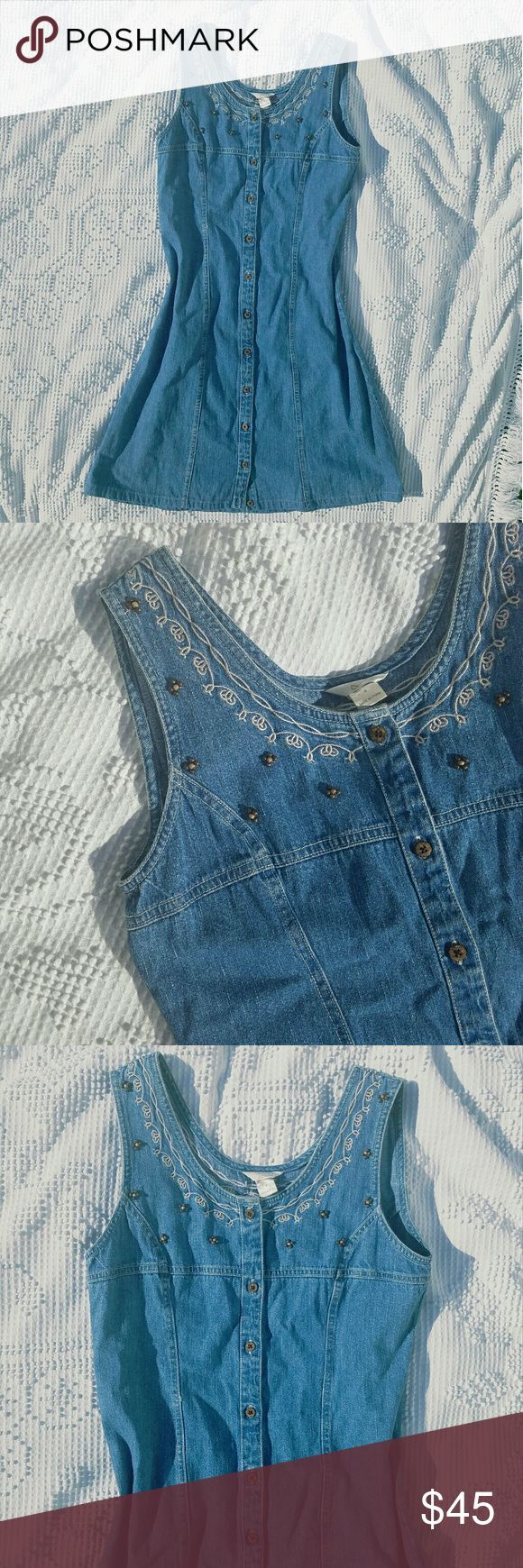 Vtg Denim Dress 90's jean jumper / dress. Front button closure  Bead and embroidered detail around neckline  Slightly fitted Size 4, true to size   Tags Grunge goth pastel vintage retro hipster hippie indie alternative punk rock lolita Vintage Dresses Mini
