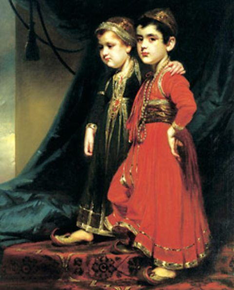 they are so adorable.♥ A portrait of the children of James Achilles Kirkpatrick and his Indian wife, Khair un Nissa. Known in Hyderabad as Sahib Begum and Sahib Allum, The Little Lord of the World, and the Lady of High Lineage. This picture by the Anglo-Irish artist George Chinnery was painted just before they sail for Europe in 1804. On arrival they were christened on arrival in England and for the rest of their lives were known as William and Kitty Kirkpatrick.