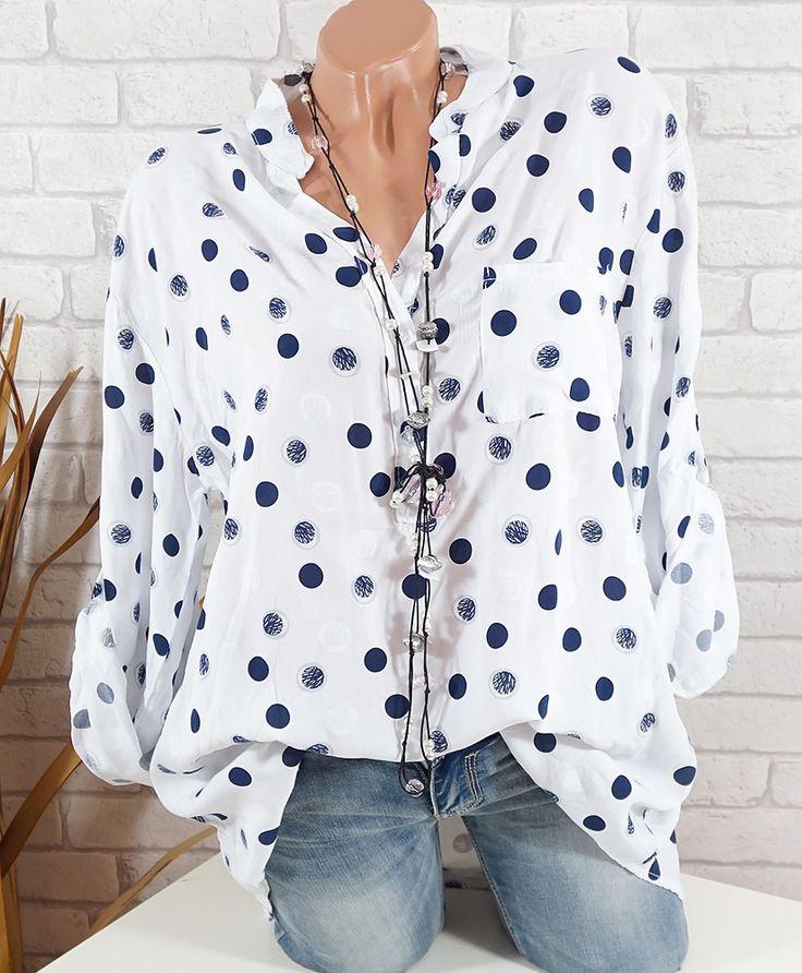 Damen Bluse Punkte Italy Tunika Fischerhemd Langarm Tasche weiß blau 44 46  48 50