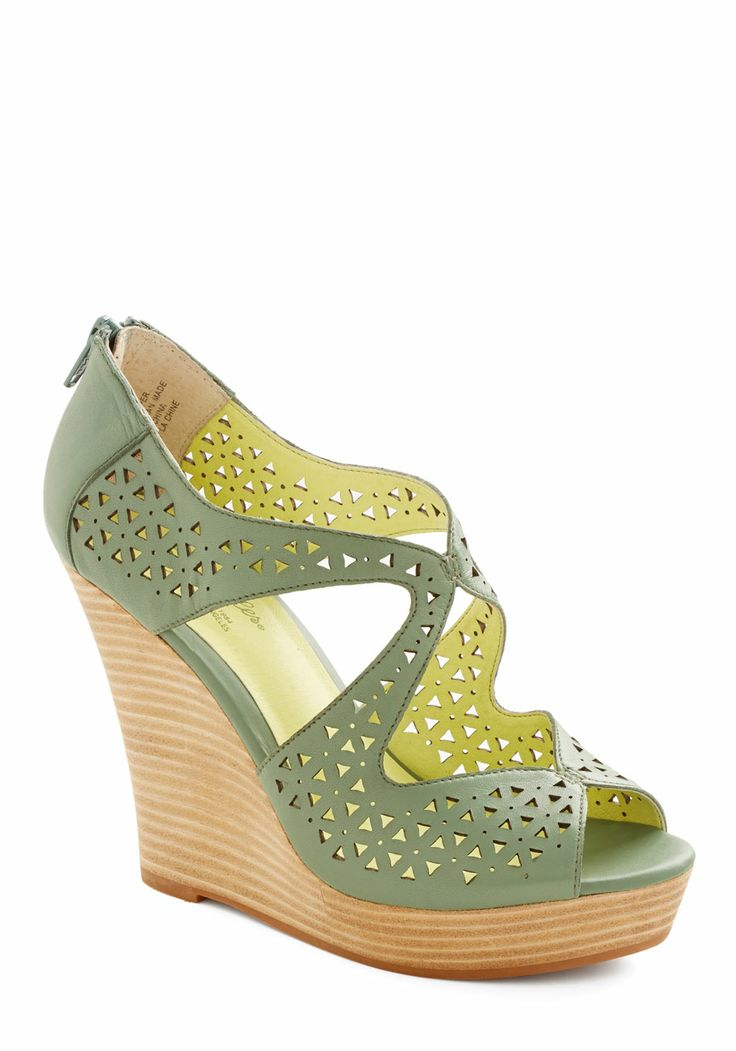 Caught My Eyes Wedge. With a shared fondness for cutting-edge style, you and your best pal bond over all things fashion. #green #modcloth