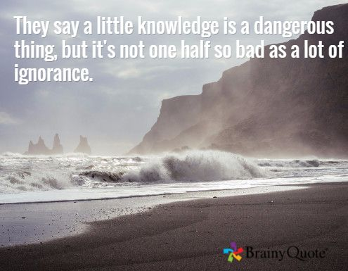 They say a little knowledge is a dangerous thing, but it's not one half so bad as a lot of ignorance. - Terry Pratchett