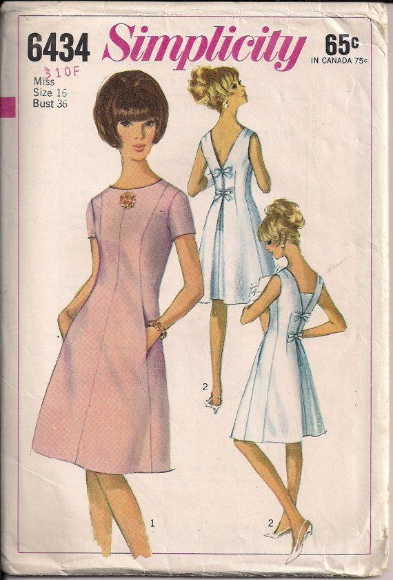 años 60 Vestido de costura patrón arco posterior por HoneymoonBus