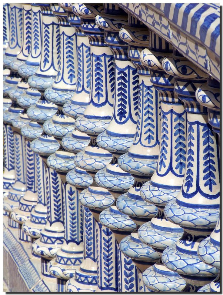 Ceramic balustrade, Seville | Andalusia | SpainRepetition Ceramics, Ceramics Blue, Classic Blue, Ceramics Balustrade, Feelings Blue, White Ceramics