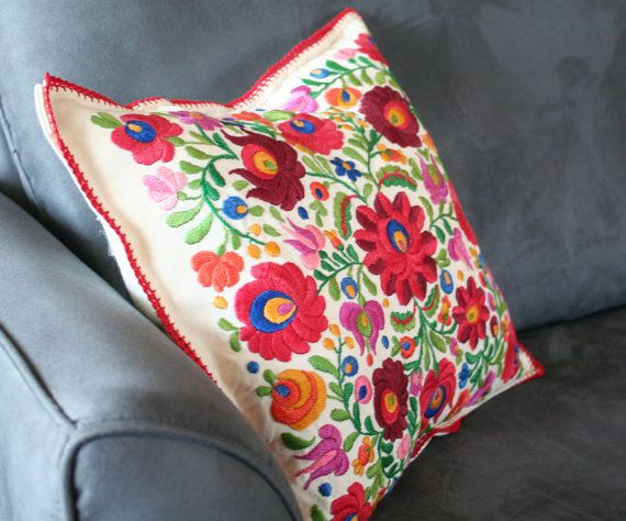 Gorgeous hand embroidered vintage Mexican style pillow cover.