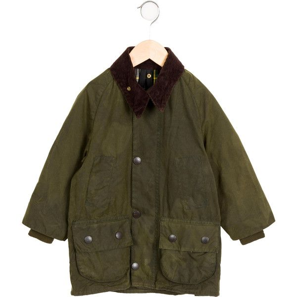 Pre-owned Barbour Boys' Corduroy-Paneled Long Sleeve Jacket (445 BRL) ❤ liked on Polyvore featuring green
