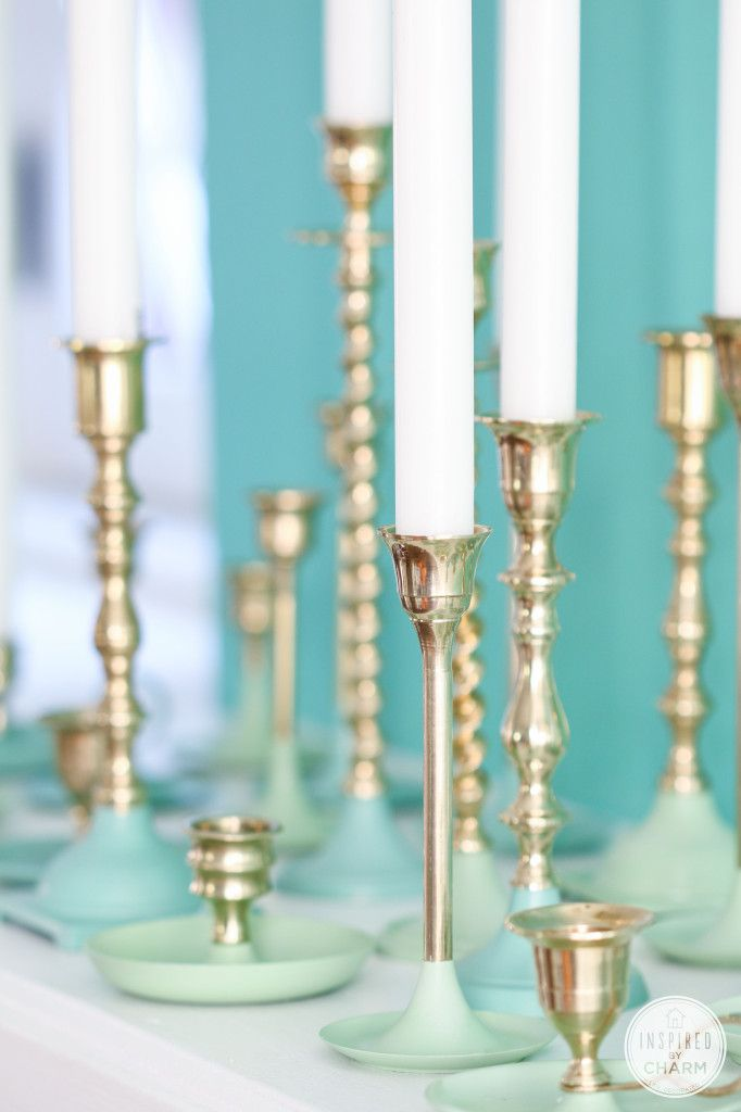Brass is back! Add a colorful and modern touch to thrift store candles with this tutorial for paint-dipped candlesticks. Great tips for polishing brass too!