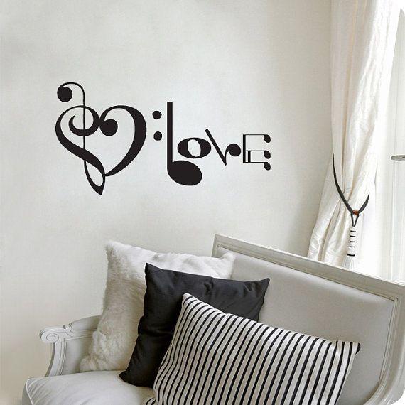"Music Notes Spelling Love Wall Decal Vinyl Art Sticker 10.5""h X 20""w"