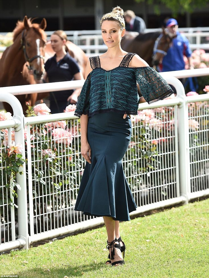Lovely in lace! Leading the style stakes at the Melbourne Cup 2016 was race-day regular Ra...