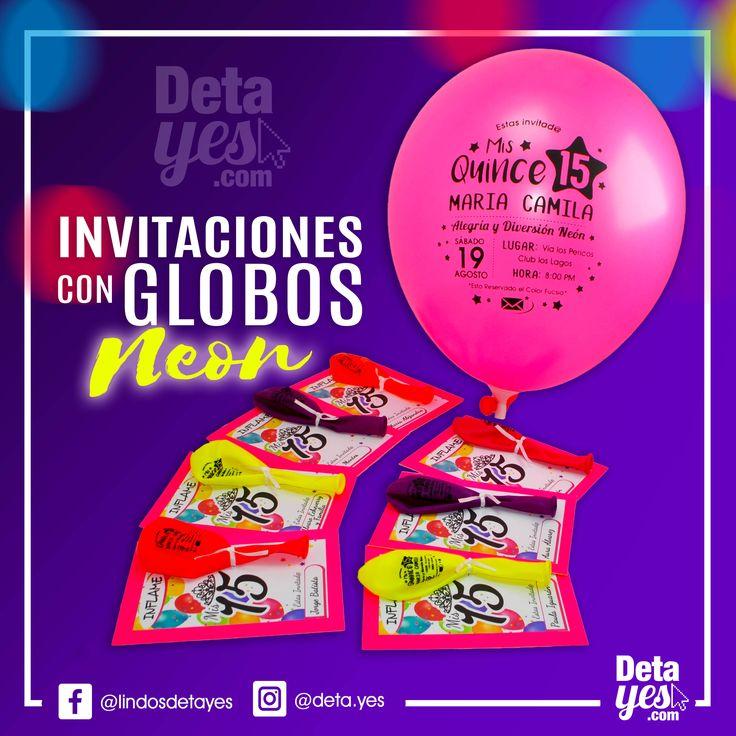 Novedosas Invitaciones con Globos Personalizados somos @deta_yes , Envíos a Toda Colombia, Pedidos 3185657519