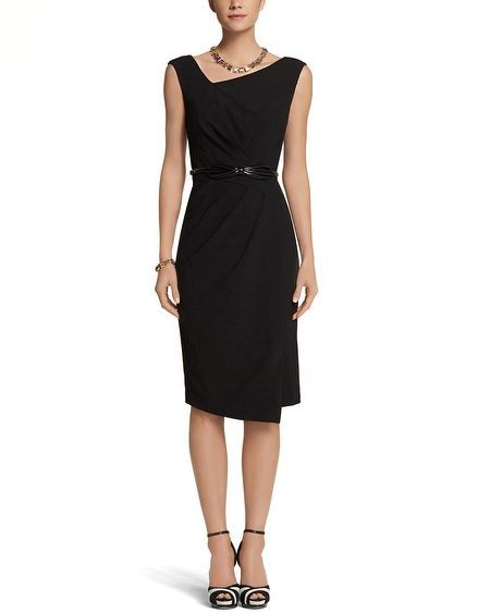 Cover all your angles with a modern neckline, crisscrossed waist, and a seam down the side that creates the illusion of a wrapped skirt. A must-add to your modern LBD collection, crafted from stretch crepe with a matte finish. http://www.whitehouseblackmarket.com/