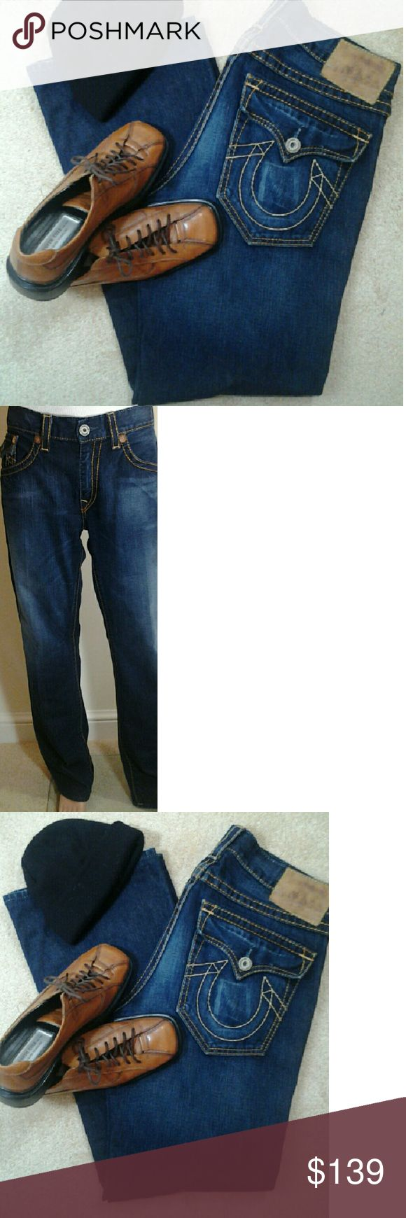 True Religion world tour men's jeans True Religion world tour men's jeans 100% Cotton... Relaxed / Long ..... in excellent condition... right back pocket have wallet imprint...Otherwise,  No Defects!!!! 36x34  Priced to Sale... FIRM True Religion Jeans Relaxed