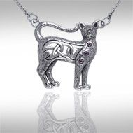 Celtic Knotwork Silver Cat Necklace TNC049 - The cat has long been a revered companion of man, sharing our lives since the time of the early Egyptians. This beautifully crafted feline is adorned with Celtic Knotwork to add meaning to the naturally mysterious character of the cat. This sterling silver necklace by Peter Stone combines mysterious power of the cat totem with the message of eternity writ large in Celtic knotwork, with gemstone accents to add that special sparkle.
