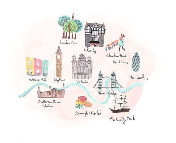 Olivia's London A4 Art Print by emmablock on Etsy