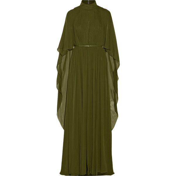 Elie Saab - Cape-effect Silk-chiffon Gown ($1,814) ❤ liked on Polyvore featuring dresses, gowns, army green, elie saab gowns, sleeved dresses, green evening gown, olive green dress and drape dress