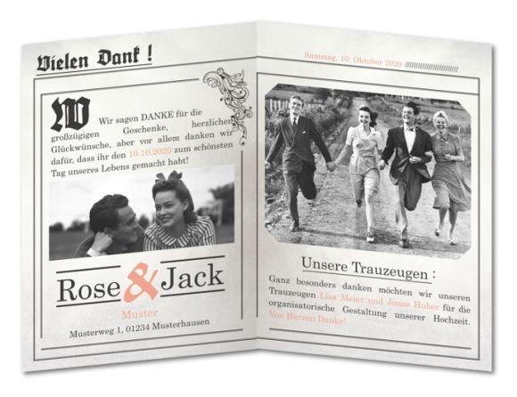Dankeskarte Hochzeit Vintagezeitung (C-701)