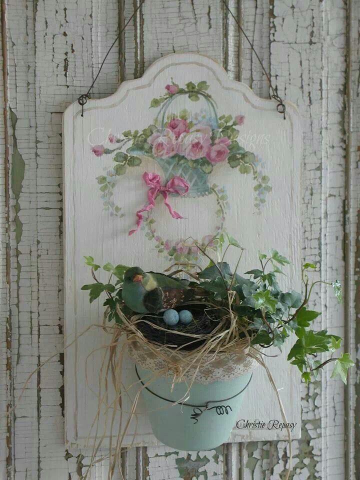 Hand painted planter, Christie Repasy Mais