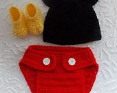 $19.49 rtsCrochet Mickey Mouse outfit-Mickey Mouse crochet outfit-newborn halloween costume mickey mouse birthday outfit-newborn Halloween costumes