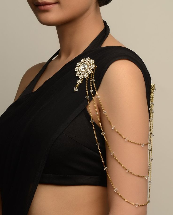Embellished Floral Brooch with Chain Strands