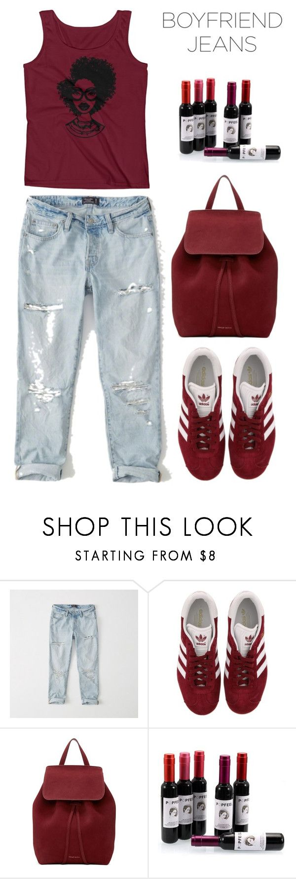 """Boyfriend Jeans"" by sukia ❤ liked on Polyvore featuring Abercrombie & Fitch, adidas and Mansur Gavriel"