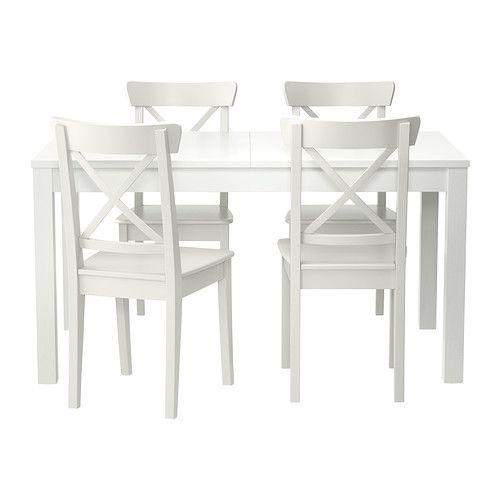 BJURSTA / INGOLF Stół i 4 krzesła IKEA Przedłużany stół jadalniany z 2 dodatkowymi blatami dla 4-8 osób; rozmiar stołu można dopasować do potrzeb.