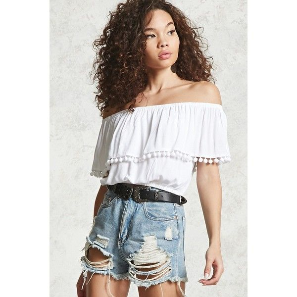 Forever21 Contemporary Off-the-Shoulder Top ($18) ❤ liked on Polyvore featuring tops, white, short sleeve crop top, white short sleeve top, off the shoulder crop top, ruffle crop top and short sleeve off the shoulder top