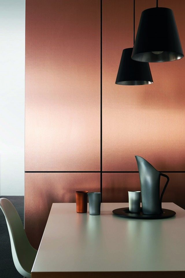 Copper splash back. Pretty awesome. I wonder how the price compares to glass. And is it durable?