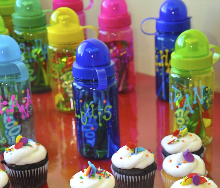 Colorful water bottle party favors.  Write kids names on front with permanent maker and fill them up with candy.  Kids loved it!!!
