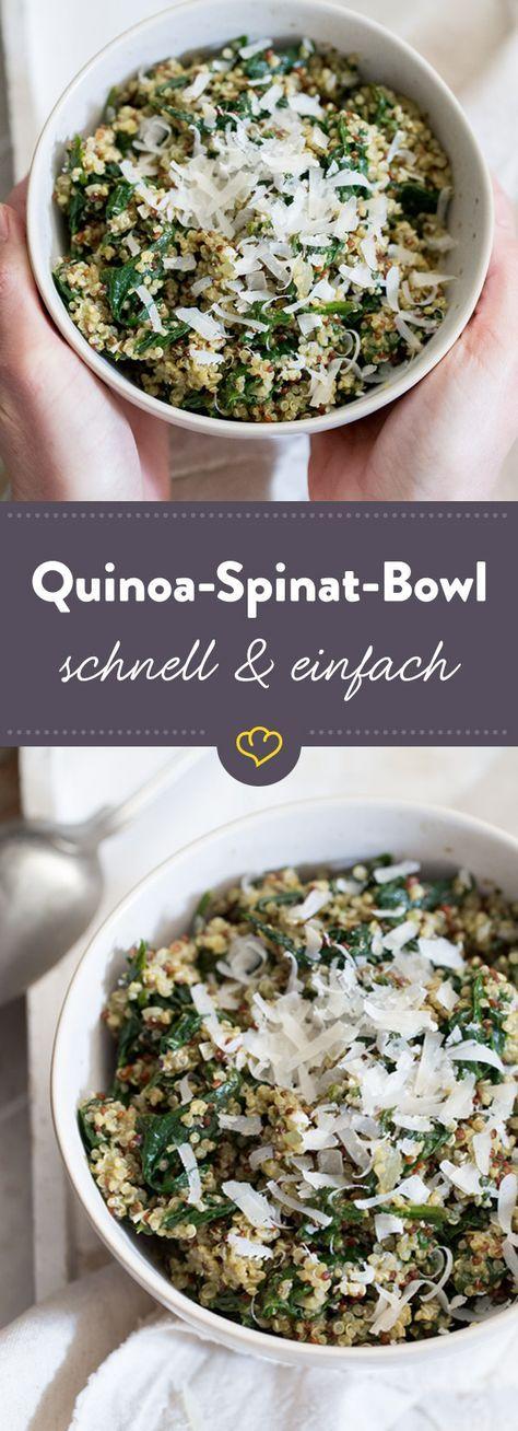 Schnelle Quinoa-Spinat-Bowl mit Pesto