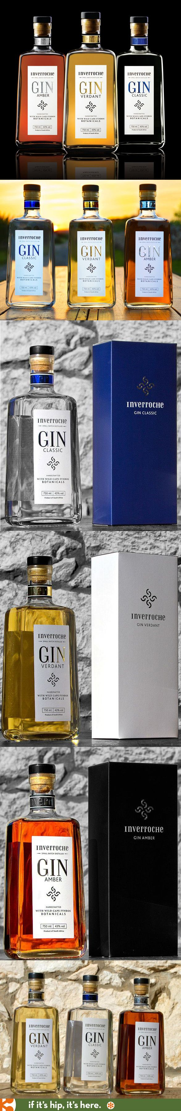 Inverroche Gins from New Zealand. Classic, Amber and Verdant bottles and packaging.