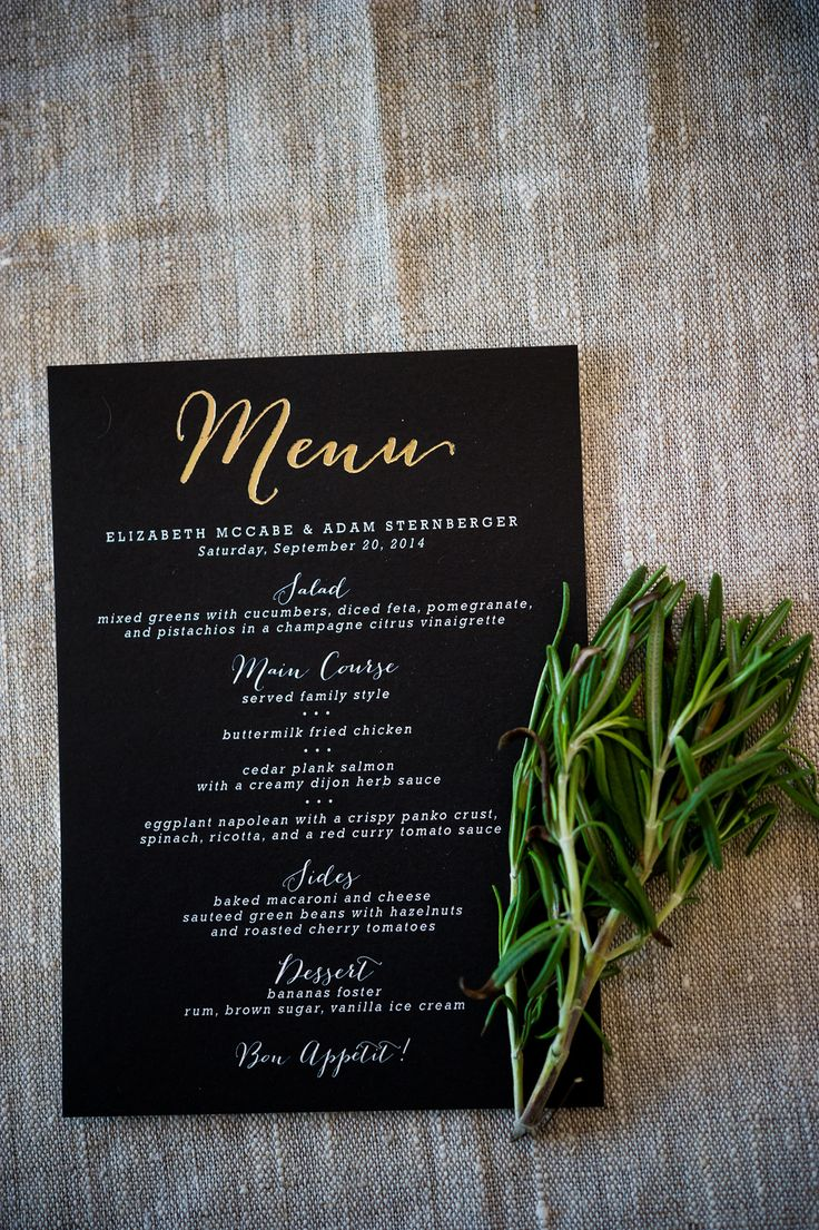 Modern Black, White and Gold Menus, Save the dates, Invitations, Thank yous, RSVPs, Seating chart, Welcome sign.