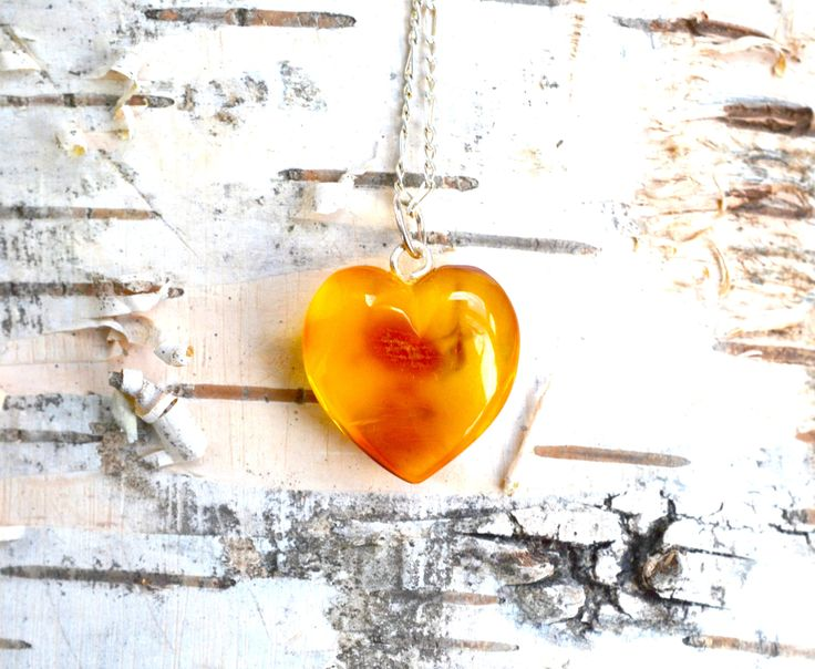 baltic amber heart necklace, amber necklace, amber silver necklace, amber jewelry, yellow amber, gift for her, amber heart, heart pendant by 4jewelry4u on Etsy