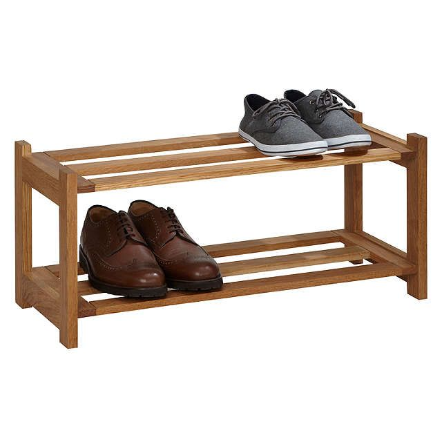 BuyJohn Lewis Oak Wood Shoe Rack, 2 Tier Online at johnlewis.com