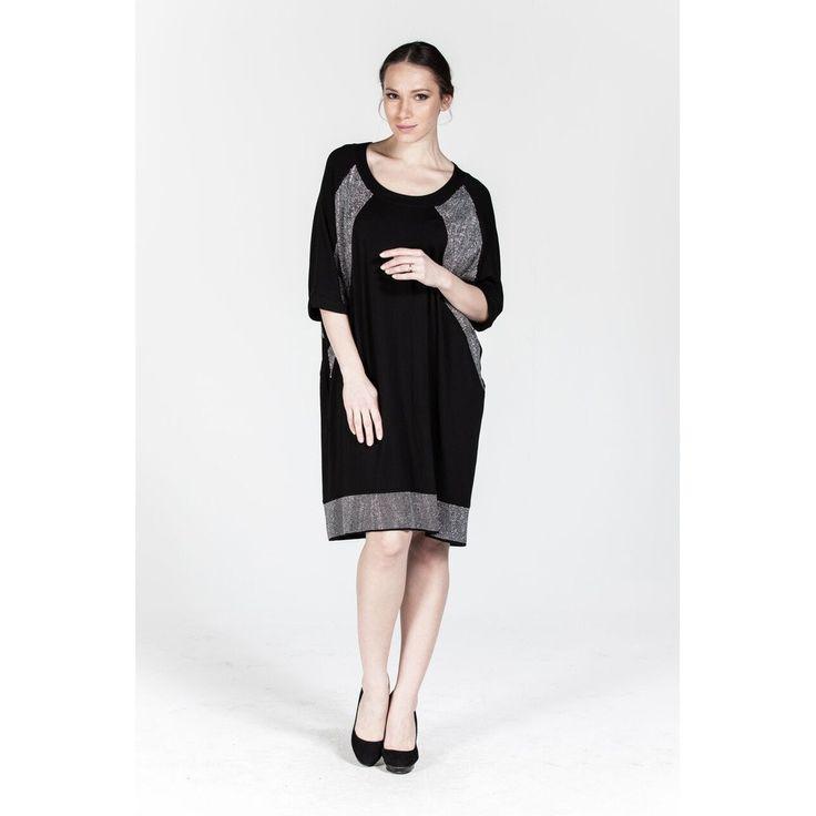 Plus size Black Rollneck Stony Detail Mini Dress
