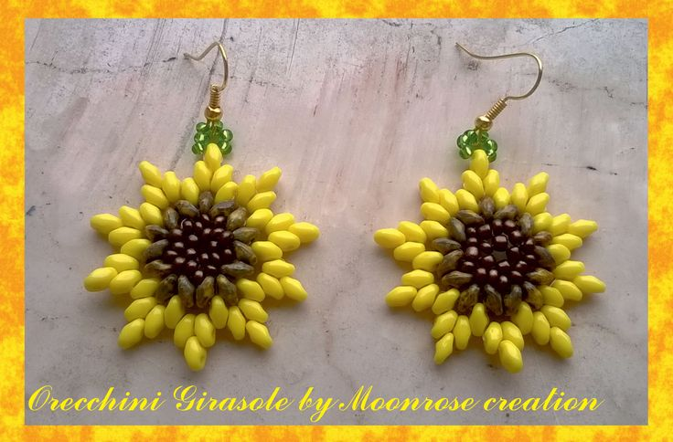 Orecchini Girasole (tutorial Sunflower Earrings)